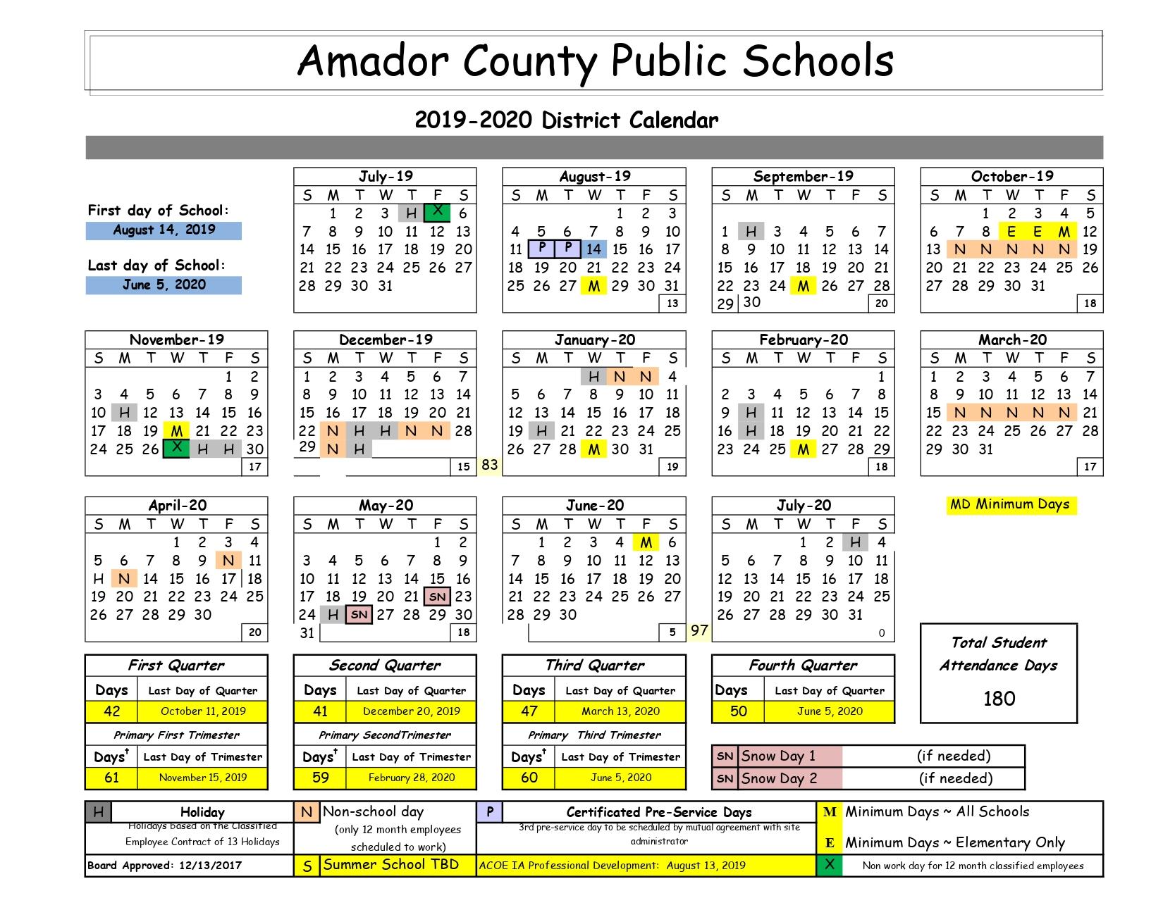 Amador Public Schools Calendar