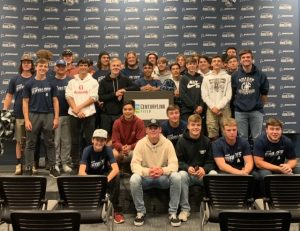 Amador High Football players in Seattle Seahawks press room