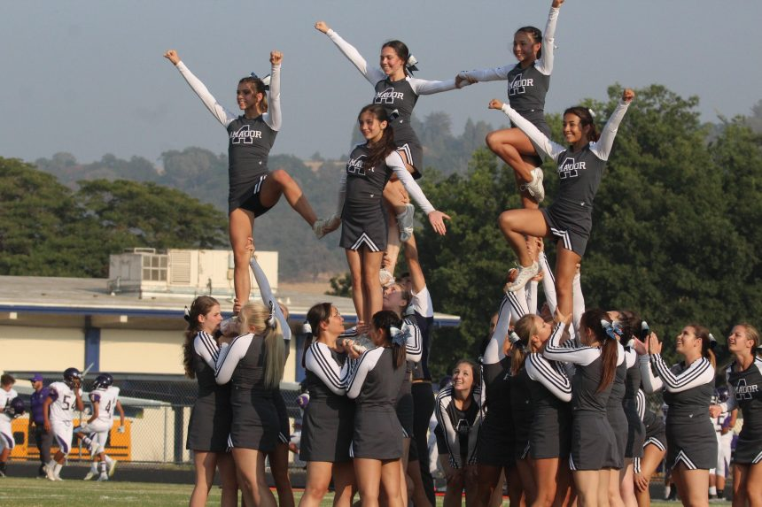 Cheerleaders Stunting in a pyramid