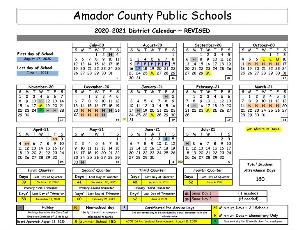 2020-2021 District School Calendar
